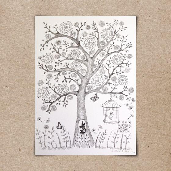 Week 9: Tree. Copic fine pen on watercolour paper - B&W version.