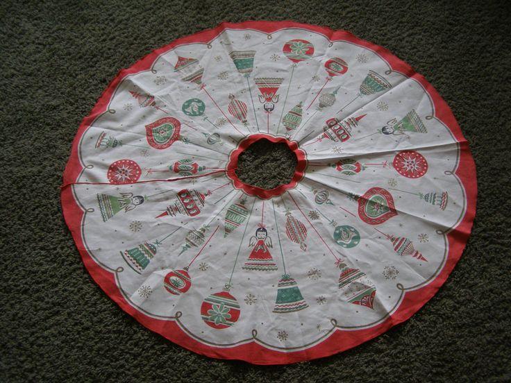 Vintage Christmas Tree Skirt ~ Angels Ornaments MidCentury by ProtectorOfVintage on Etsy