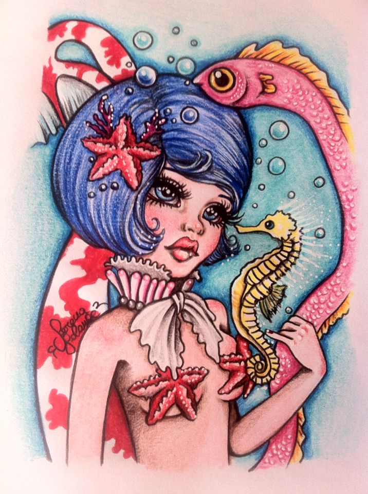 Sirena carpa, matite colorate su carta Serena Solange Carluccio