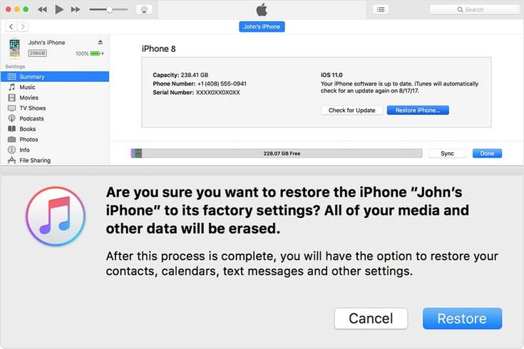 How to reset iphone 8 to factory settings using mac or pc