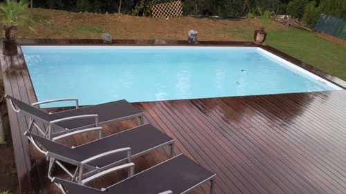 12 best images about les tapes de la pose de terrasse for Construire une piscine en dur