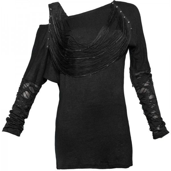 Gothic necklace top with strings and chain detail, torn sleeves and off-the-shoulder look. Made by Queen of Darkness.