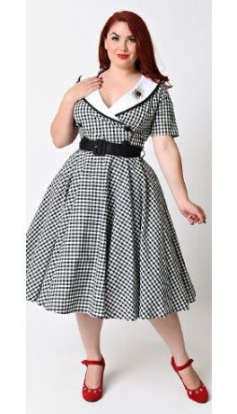 Hell Bunny Plus Size 1950s Style Black Gingham Short Sleeve Ladybird Swing Dress