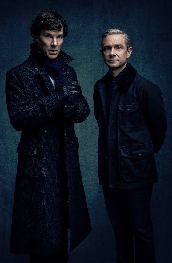 Benedict Cumberbatch and Martin Freeman, Sherlock season 4 promo photo.
