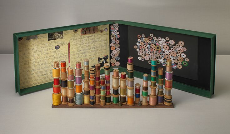 From The Box Project: Uncommon Threads,  Gere Kavanaugh  Untitled , 2010  Paper, graphite, found spools, thread, thimbles, bobbin, fabri c, and straight  pins  2 1/2 x 50 3/16 x 15 5/16 inches  Cotsen Collection  Photography: Bruce M. White © Lloyd Cotsen, 2016