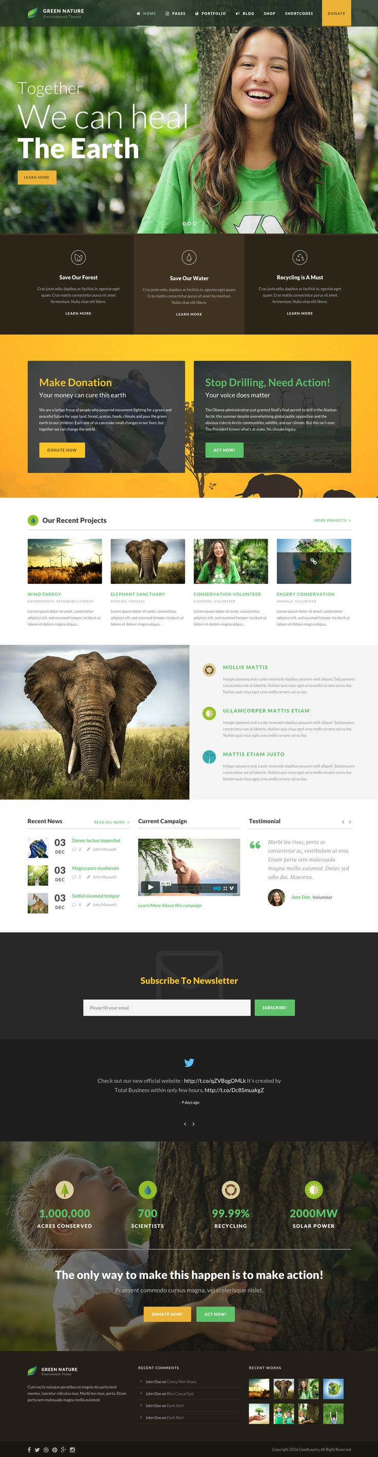 Green Nature - Environmental / Non-Profit WP Theme • Download ➝…