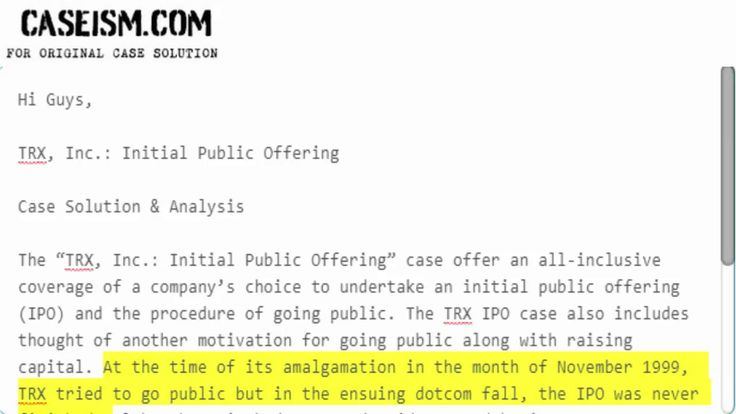 TRX Inc.: Initial Public Offering Case Solution & Analysis Caseism.com https://caseism.com  This Case Is About TRX Inc.: Initial Public Offering Case Solution and Analysis  Get Your TRX Inc.: Initial Public Offering Case Solution at Caseism.com  http://ift.tt/2m0VqT2 https://youtu.be/dB9kcFbpaBE
