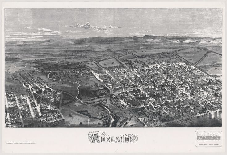 Early aerial view of the City of Adelaide, the River Torrens and portion of North Adelaide from a point above Pennington Terrace, North Adelaide.