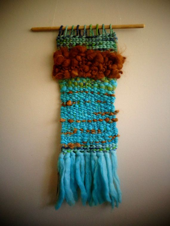 Turquoise Wool and Alpaca Wall Hanging by CrisalidaTextile on Etsy