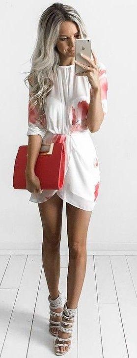 Poppy Print White Little Dress