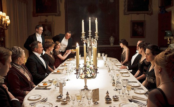 Entertaining Downton style.  I've certainly got the crystal and silver for this. @Bonnie Carroll Nelson: think our next party should be a Downton Abbey theme.