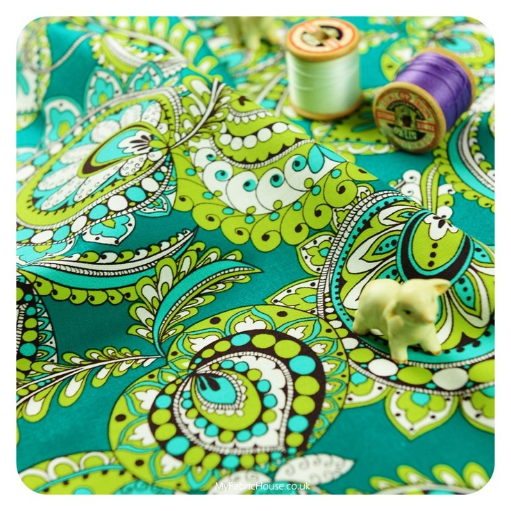 50x48cm Flower Power ♥ Floral Paisley Quilting Patchwork Cotton Fat Quarter Fabric in Blue Turquoise