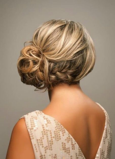 Bridesmaid hair: French braid across nape with side updo