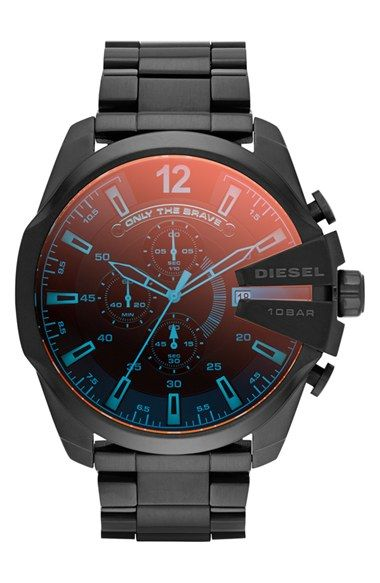 Free shipping and returns on DIESEL® 'Mega Chief' Chronograph Bracelet Watch, 51mm at Nordstrom.com. A raised crown protector and svelte, blue-sparked chronograph dial distinguish an oversized bracelet watch marked with 'only the brave.'