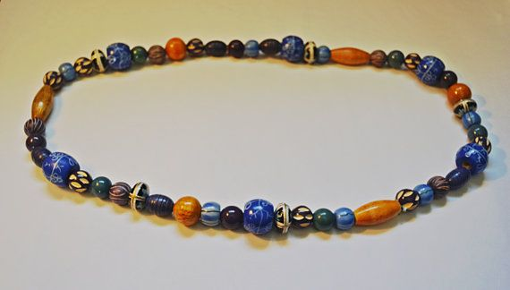 Large Wood Bead Necklace Painted Bead Necklace by Collectitorium