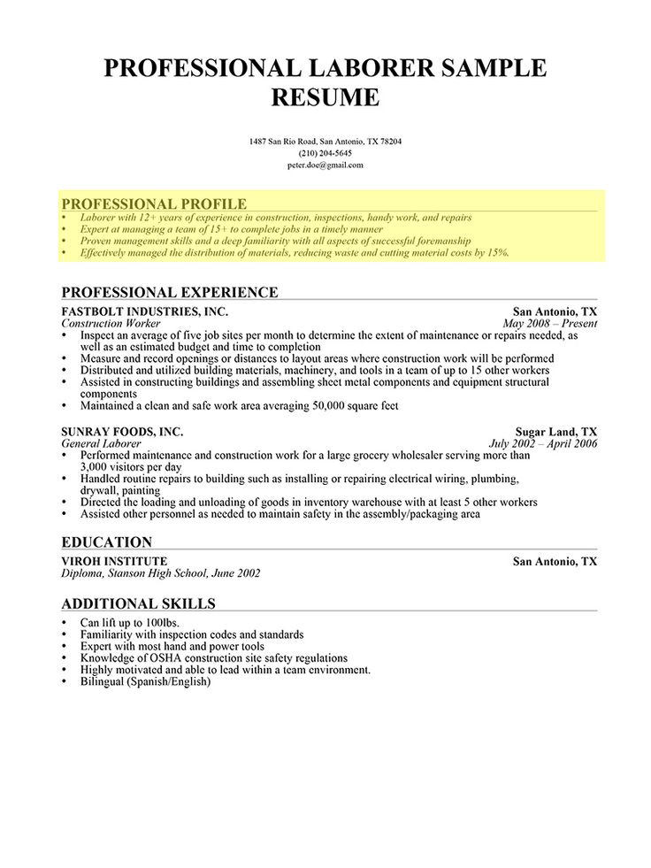 a professional profile enhances the readability of your resume making it hiring manager friendly