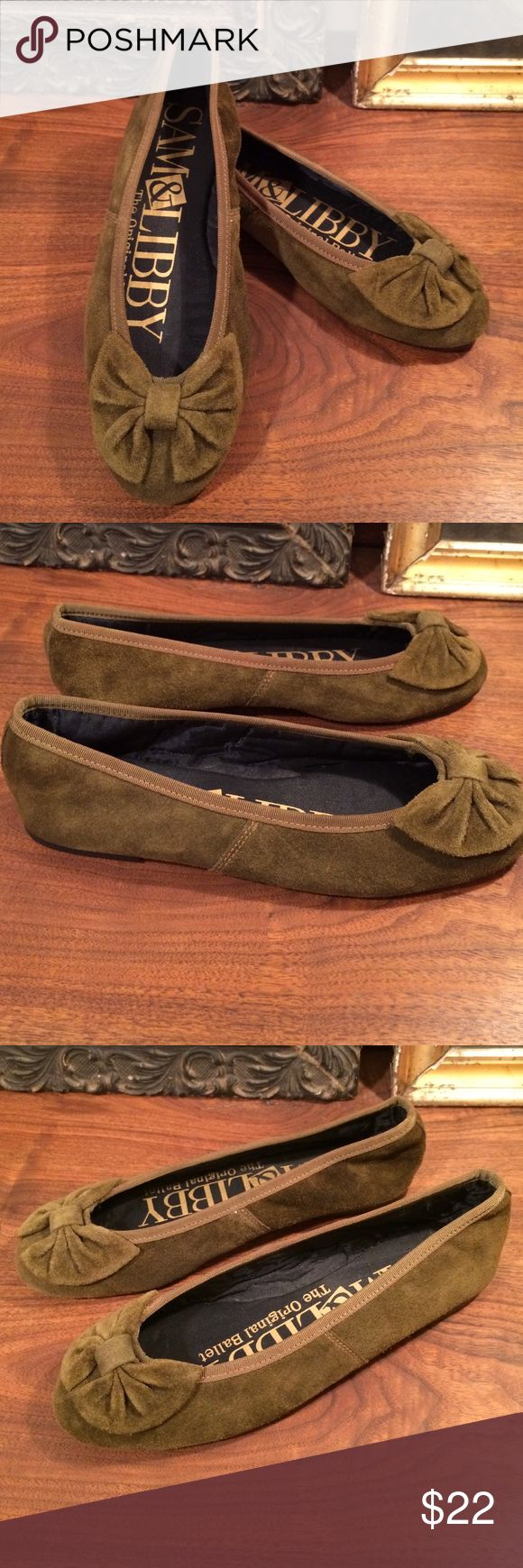 Vtg Olive Green Suede Sam & Libby Ballerina Flats I am so incredibly sad these don't fit as they might just be the cutest ballet flats ever. I was a big Sam & Libby fan back in the day and these remind me why! The color on these is a rich olive green suede and will work so lovely with rich autumnal hues. Labeled a 6.5 and I would put these on the 6/6.5 side of sizing as I am 6.5-7 and they were too snug for me to keep. Perfect condition - do not appear to have ever been worn. Vintage Shoes…