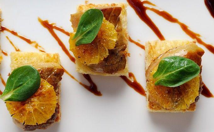 Montaditos de brioche con foie gras gratinado