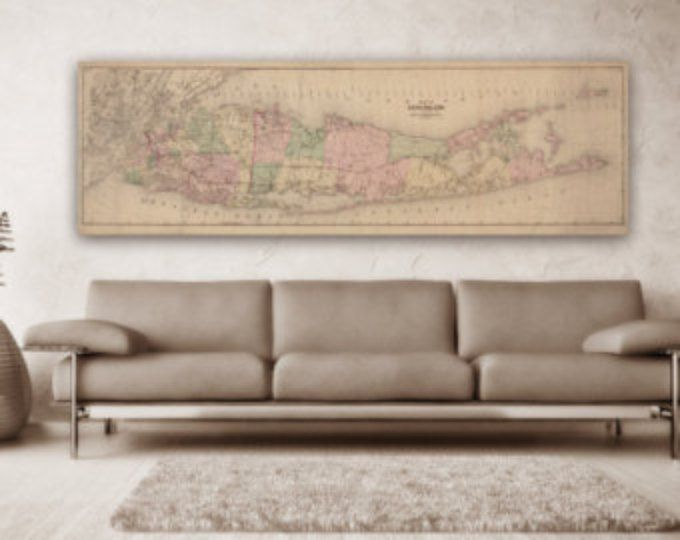 Here is a amazing Triptych Print of a Vintage Long Island Map FREE SHIPPING!! Here is a amazing 3 Panel Print of a Vintage Long Island Map -This order is a triptych, meaning it is one single image printed across three separate prints -Size of the individual panels of the triptych is equal to the dimensions of your order divided by three. For example, if you ordered a 10 X 36, each individual one would be 10 by 12 -To Order the singular map, that is, not the triptych, simply search for that…