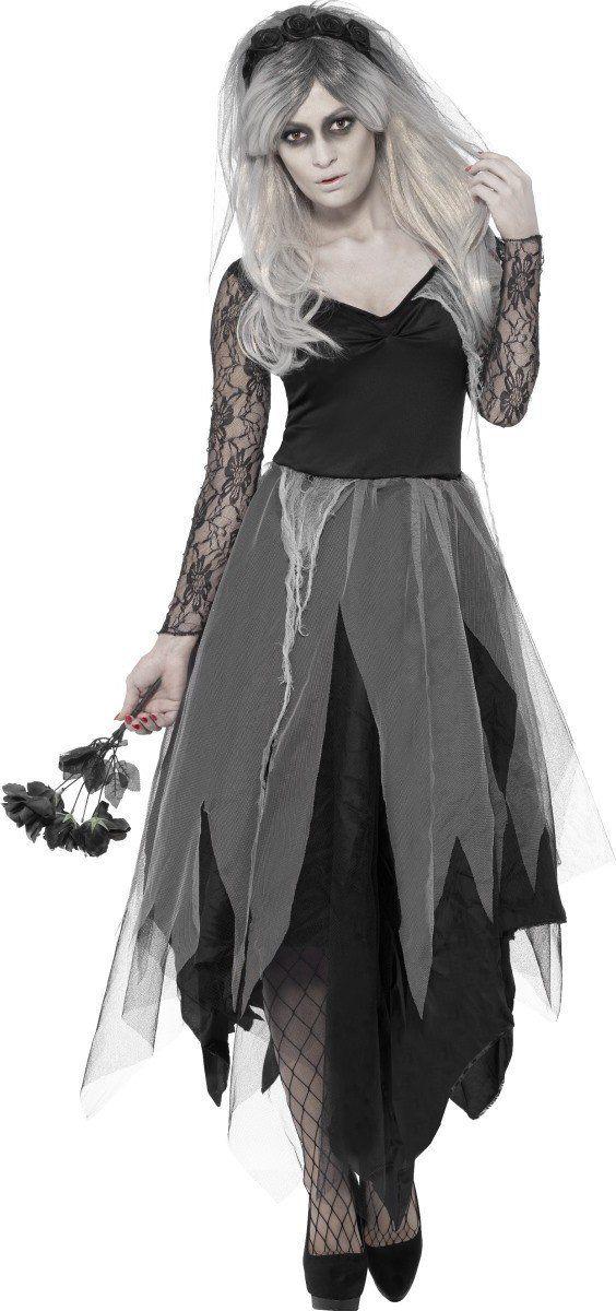 Disfraz novia fantasma negro mujer Halloween: Este disfraz de fantasma para mujer está formado por un vestido y una diadema (ramo, medias y zapatos no incluidos). El vestido es de color negro con las mangas de puntilla. La parte de abajo...