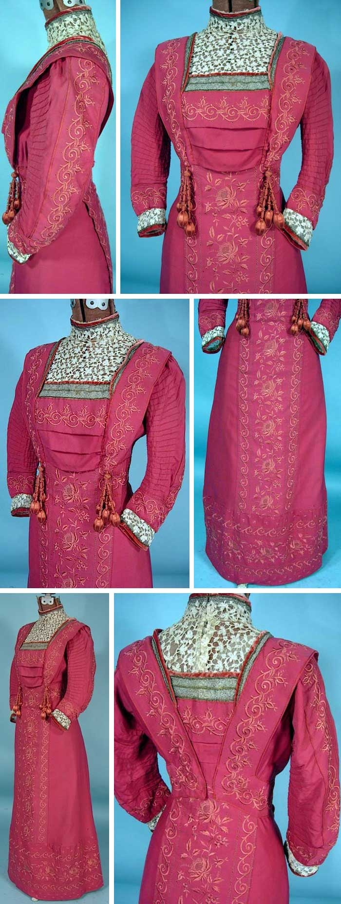 Rose-colored gown, Emma Wagen, Lucerne, ca. 1910. Embroidered with silk slightly lighter than fabric. Lace trim at cuffs, yoke, and neck. Closes with hidden hooks and snaps. AntiqueDress.com