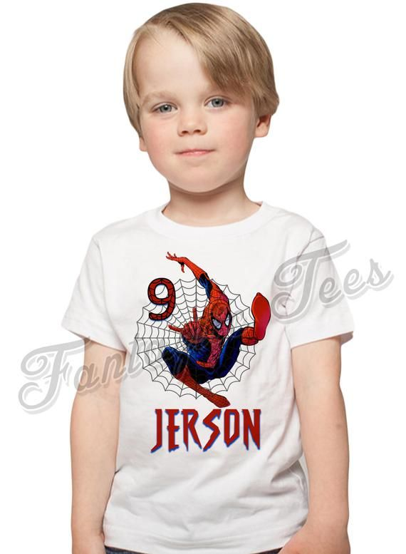 a215a5d4 Spider-man Birthday Shirt Add Name & Age Spiderman Custom Birthday ...