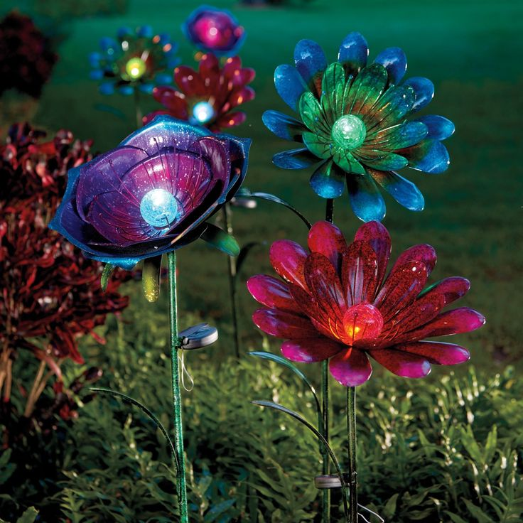 Adding Yard Art To Your Outdoor Decor Is A Sure Way To Add Unique Style.  These Solar Flowers Come In 4 Beautiful Varieties So You Can Scatter Them  In Your ...