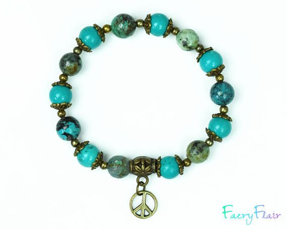 Turquoise Bracelet with Peace Charm for Healing the Throat