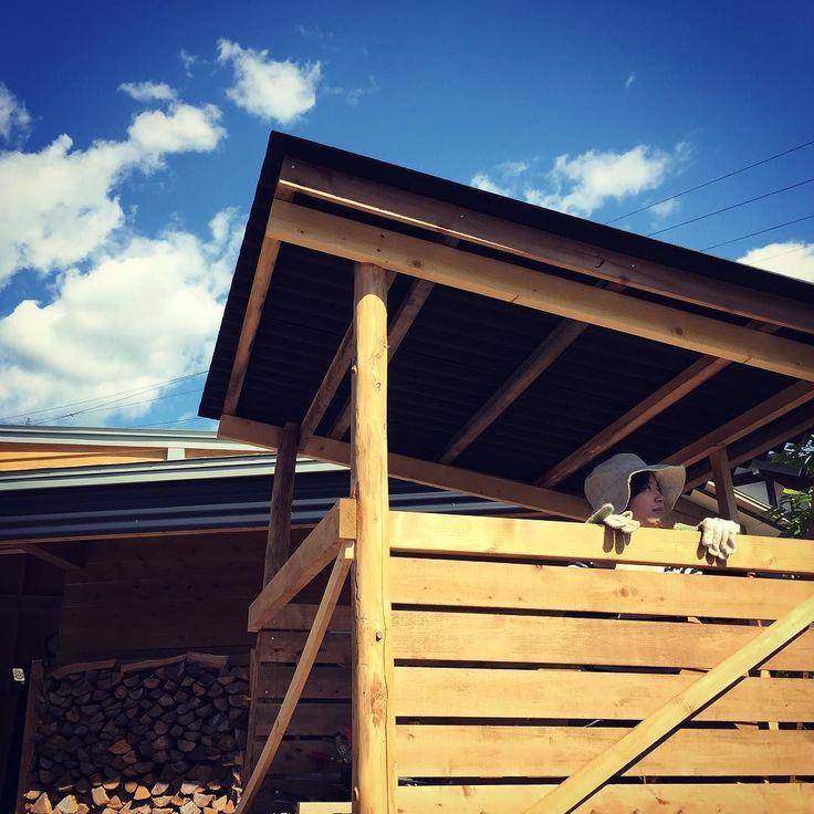 キッズの城に屋根と外壁がつきました#diy #庭 #小屋 #田舎暮らし