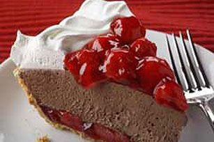 Chocolate-Cherry Pie recipe....Use light cherry pie filling instead of regular, sugar free chocolate pudding and sugar free cool whip for a less sugary dessert.