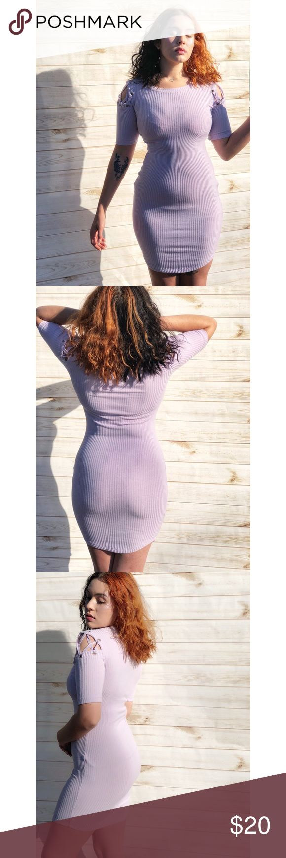 NWOT Lace shoulder fitted lavender dress *Size: Small* *Hand wash cycle cold* -Lavender pleated exterior -Fitted stretch fabric -Midi length -Scoop neck -Shoulder cutouts with lace design -Body accentuating -Worn only for photos -Pairs well with heels/boots/sneakers Forever 21 Dresses Midi
