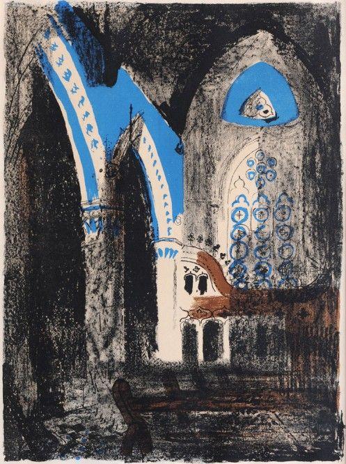 ✽ john piper - 'sutton waldron' - lithograph - 1948