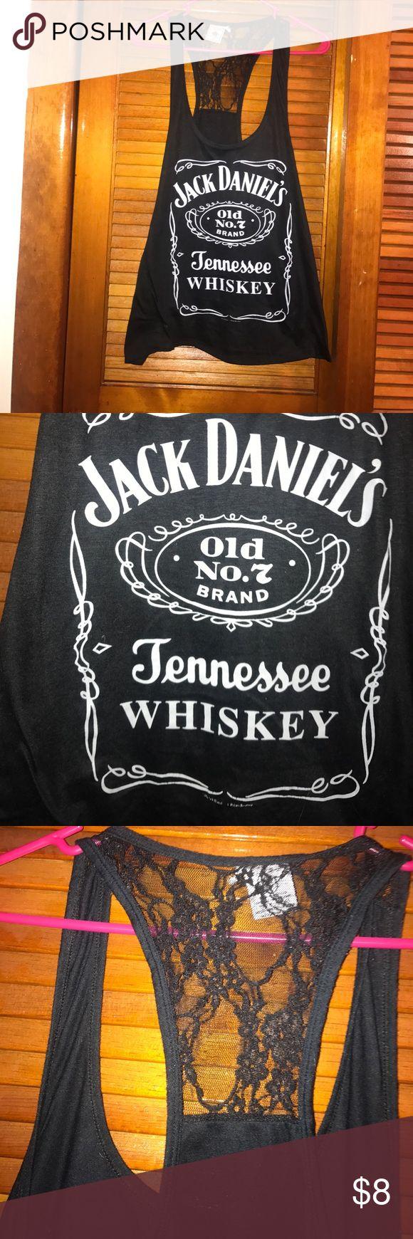 Medium Jack Daniels lace back tank top Size medium black jack Daniels classic logo tank top with upper lace back Tops Tank Tops