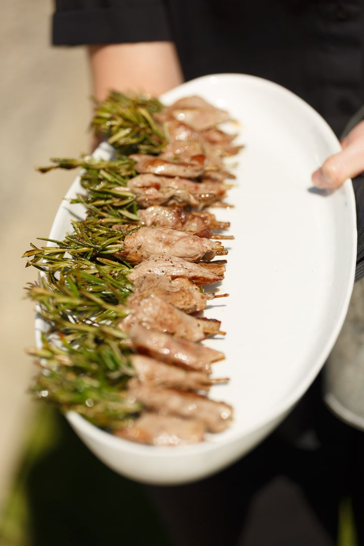 Rosemary skewered lamb fillet canape. Wedding photo credit - Paul Howell Photography, Wellington NZ.