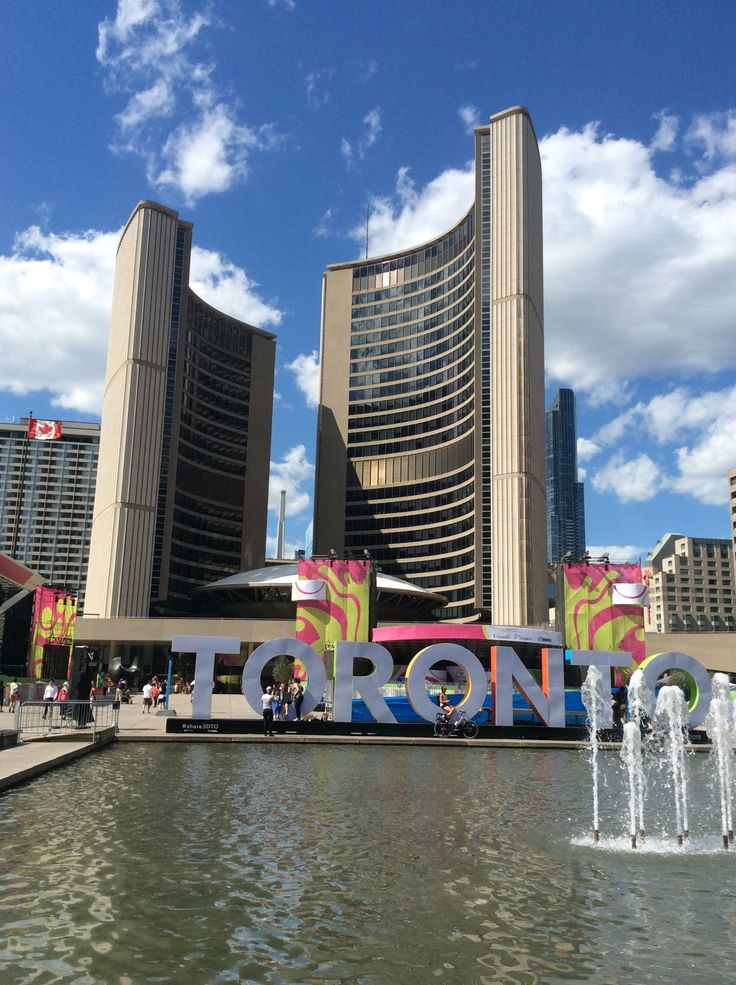 Downtown Toronto, City Hall behind Eaton Centre