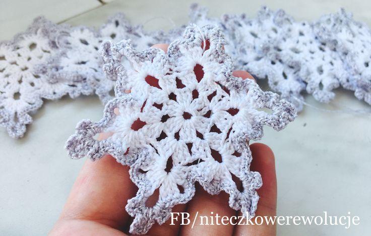 Śnieżynki zimowe, świąteczne, Christmas, decoration, decor, winter, crochet, szydełko