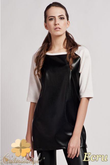 Długa bluzka damska o prostym kroju, z krótkimi, raglanowymi rękawami marki Lanti.  #cudmoda #moda #ubrania #odzież #sklep #styl #bluzy