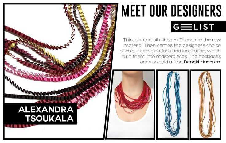 Pleated silk ribbons' necklaces, in many color combinations, by Alexandra Tsoukala! Where there is love and inspiration, every piece is unique and every design is unmatched!