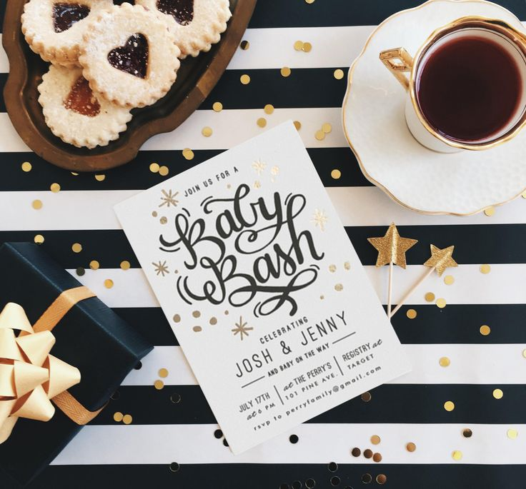 Shower the Mama to be in a little glitz + glam with a black, gold, and white baby shower theme!