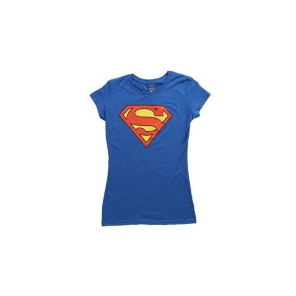 Womens Superman T-Shirt ($22) ❤ liked on Polyvore featuring tops, t-shirts, blue superman t shirt, superman t shirt, superman top, blue top and blue t shirt