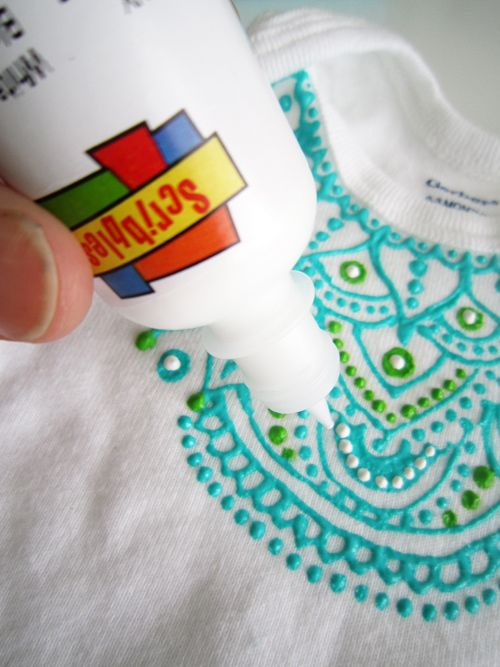baby onesies with puff paint.