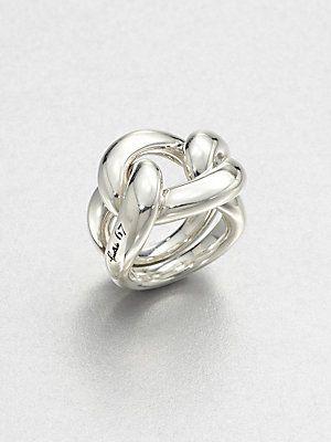 Pomellato , prachtige zilveren gevlochten ring.