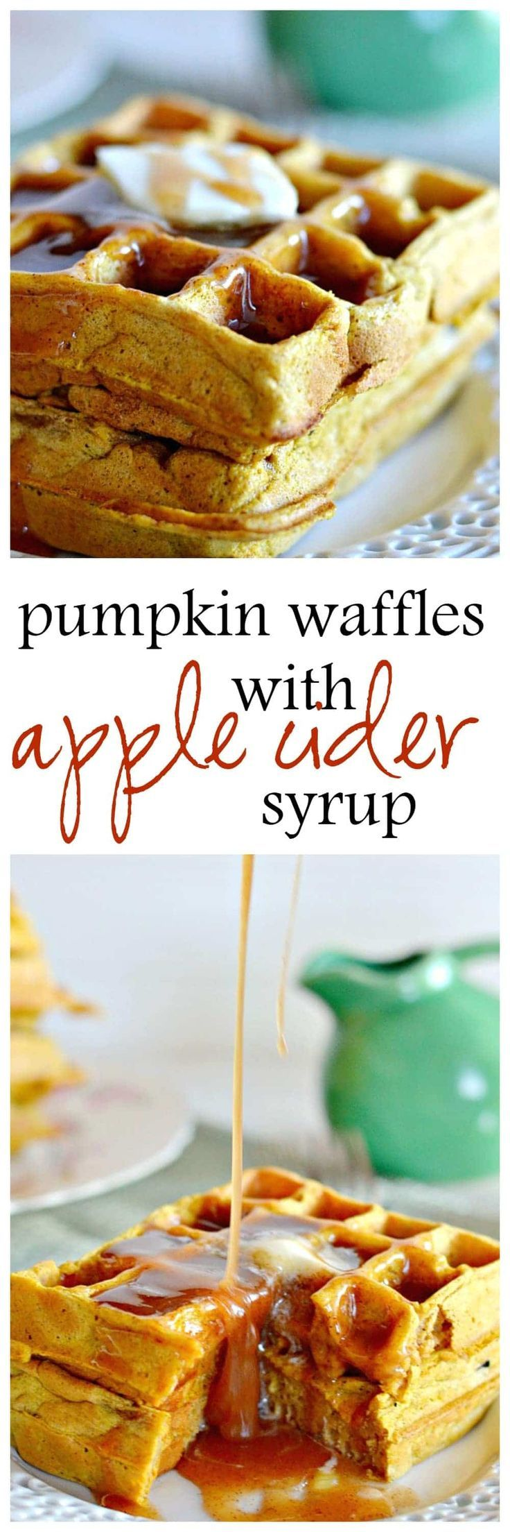 Combine two favorite fall flavors--pumpkin and apple cider--for a comforting, decadent breakfast for a special morning. The syrup alone is out of this world! | pumpkin waffles | homemade breakfast | breakfast recipes | pumpkin recipes | breakfast and brun