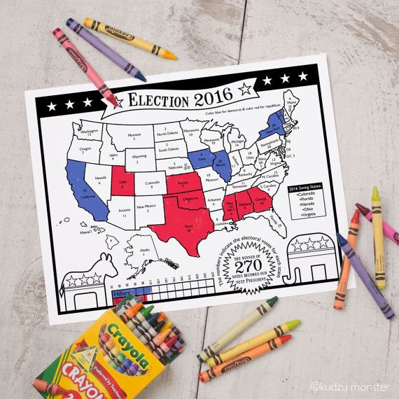 Election Map Activity Sheet With Number Of Electoral Votes For Each State Instant Download Printable Map