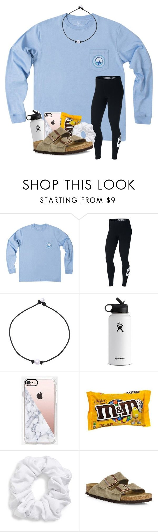 """I swear I use Birks in every outfit"" by magsvolleyball2 ❤ liked on Polyvore featuring NIKE, Hydro Flask, Casetify, Natasha and Birkenstock"