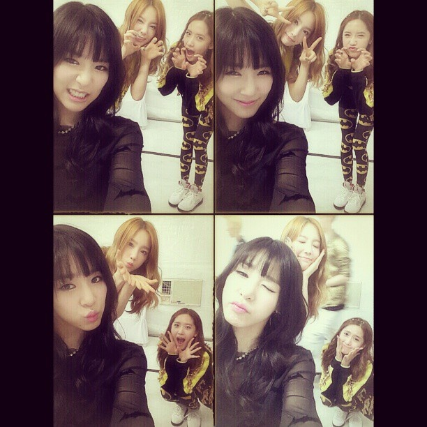 "Taeyeon, Tiffany, and Yoona.. ""taeyeon_ss: waiting to go on stage..cantwait;)"" #Taengstagram #130330 #Girls'Generation #KidLeader #PinkGangsta #AlligatorYoong"