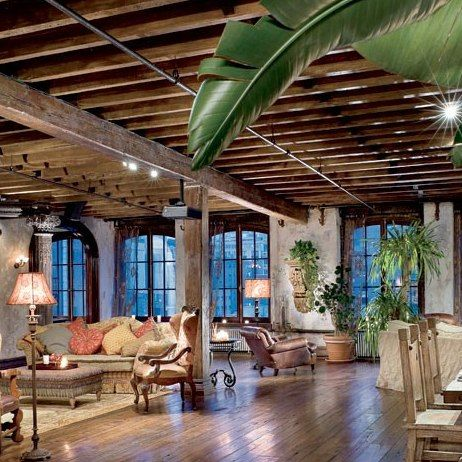 New York Loft Design .Celebrity Loft Space. Open Living Design. Rustic Exposed Beams. Gerard Butler's NY loft.  A Dream Home Design.