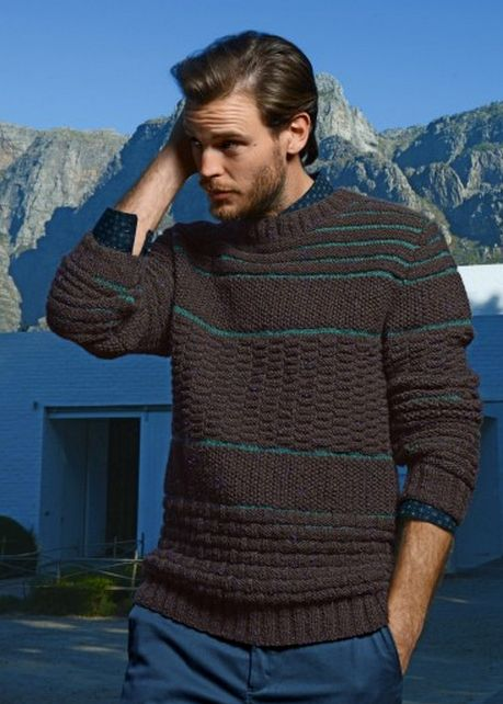 #711 Men's Sweater, Fall/Winter 13-14 (Bergere de France French knitting/crochet). Made in BDF Sport and Chinaillon.