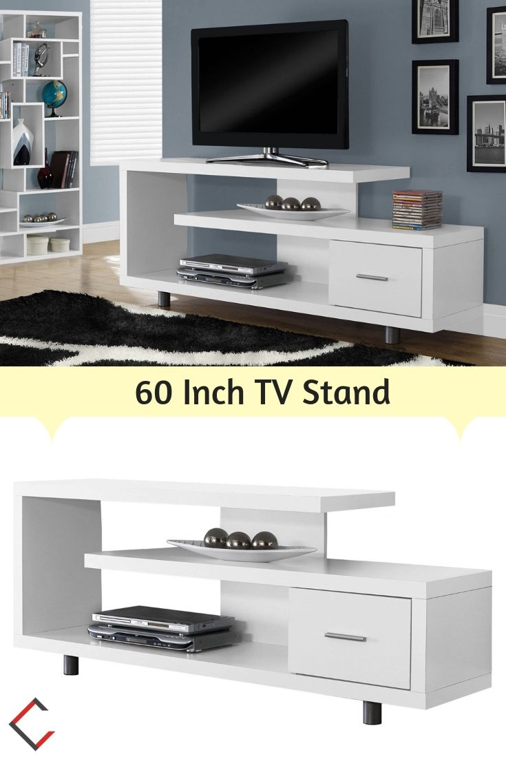 Monarch Specialties White Mdf 60 Inch Tv Stand The Classy Home