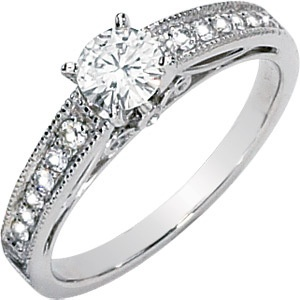 Moissanite and Diamond Engagement Ring set in 14k White Gold. #MoissaniteJewels #CharlesandColvardMoissanite